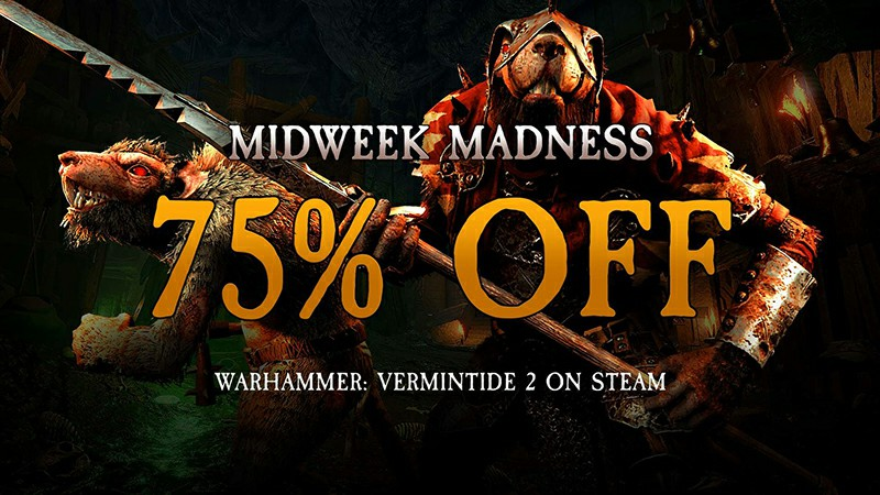 Get 75% off on Warhammer: Vermintide 2 and 33% off all DLC's in the Midweek Madness